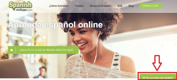 El chatbot de la nueva web de Spanishviaskype