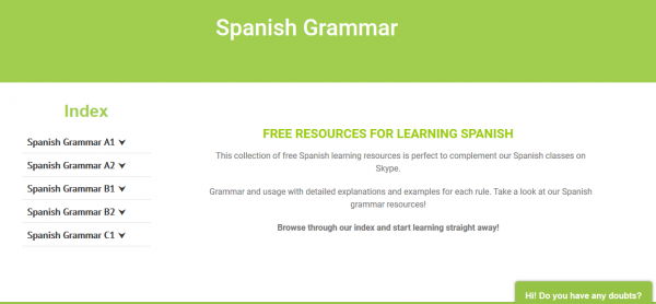 Spanishviaskype's new site free resources