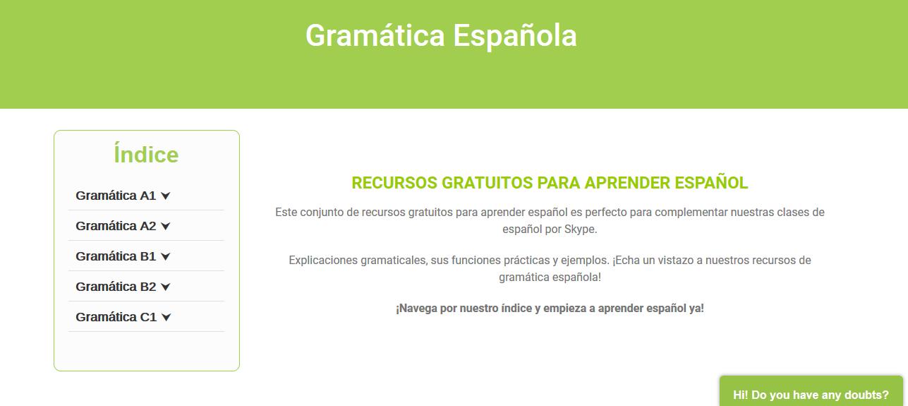 Recursos gratuitos de la nueva web de Spanishviaskype