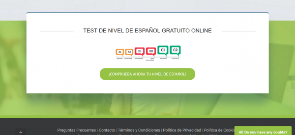 Test de nivel de la web de Spanishviaskype