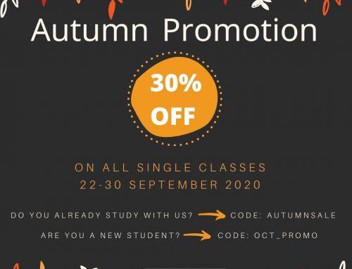Autumn Promotion 2020: 30% Discount
