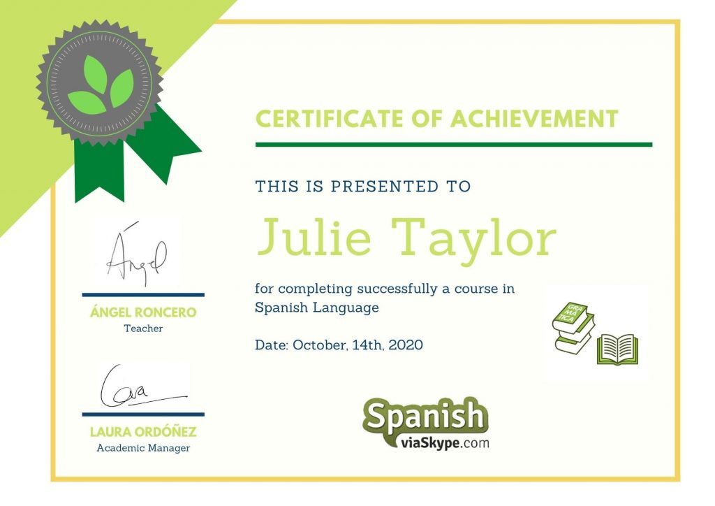 Spanish online classes for kids certificate
