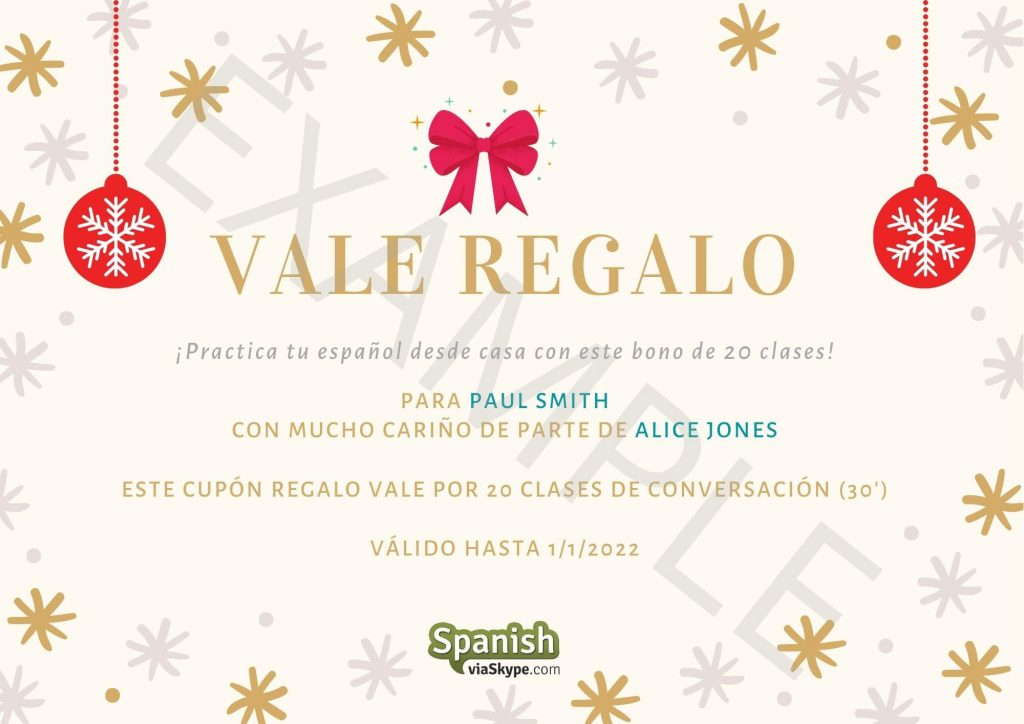Personalized Spanish Classes Gift Cards