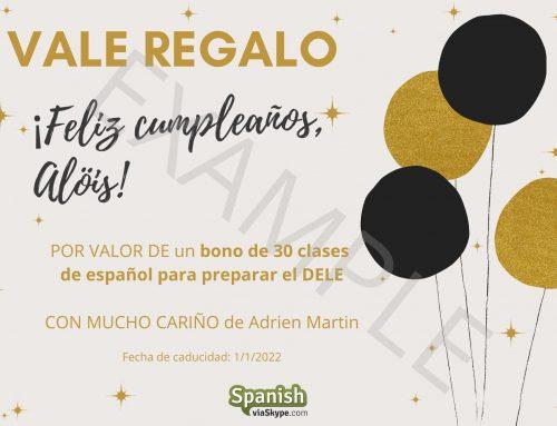Tarjetas regalo para clases de español