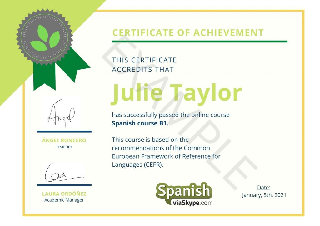 Spanishviaskype Certificate of level