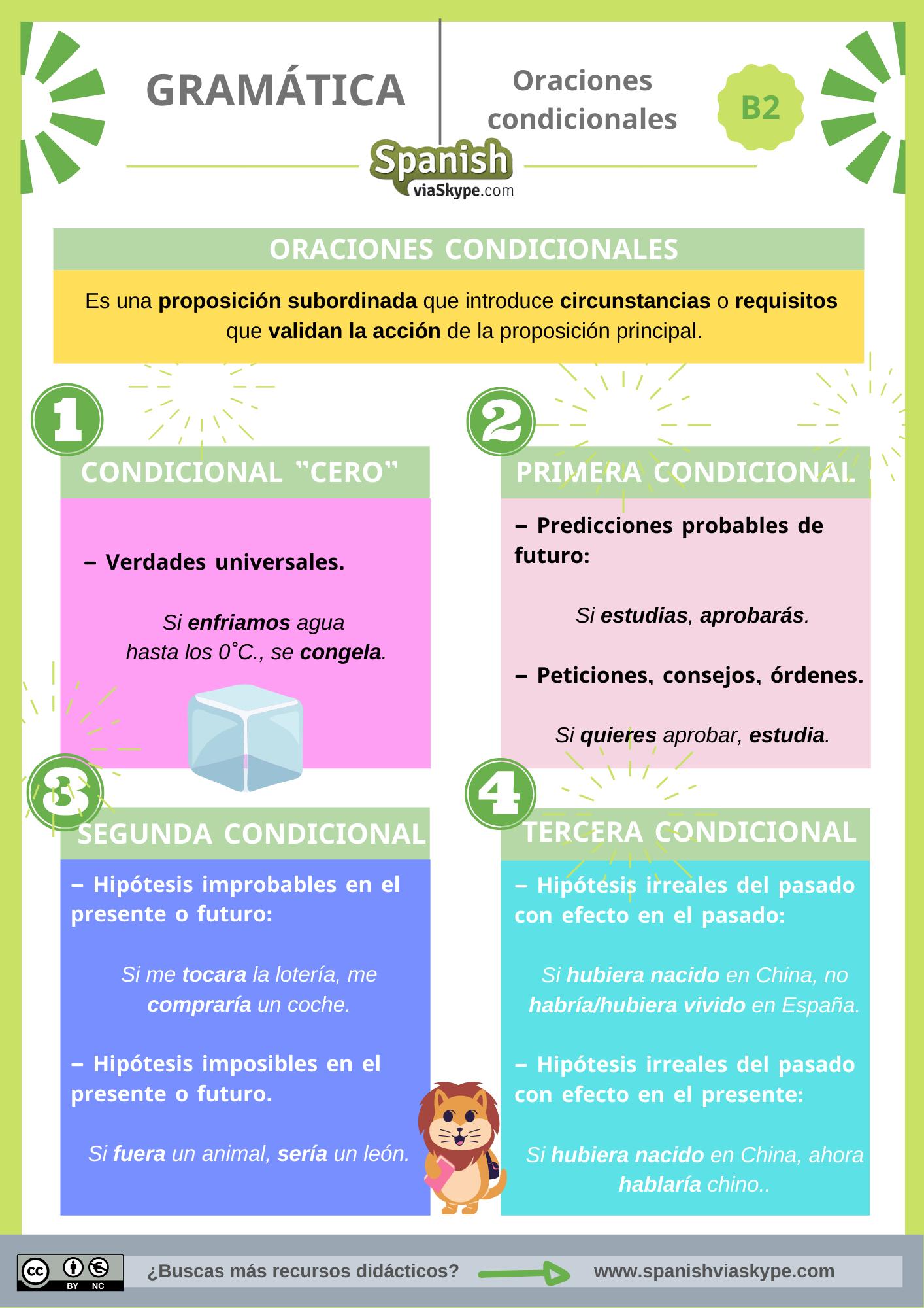 Infografía de las oraciones condicionales en español